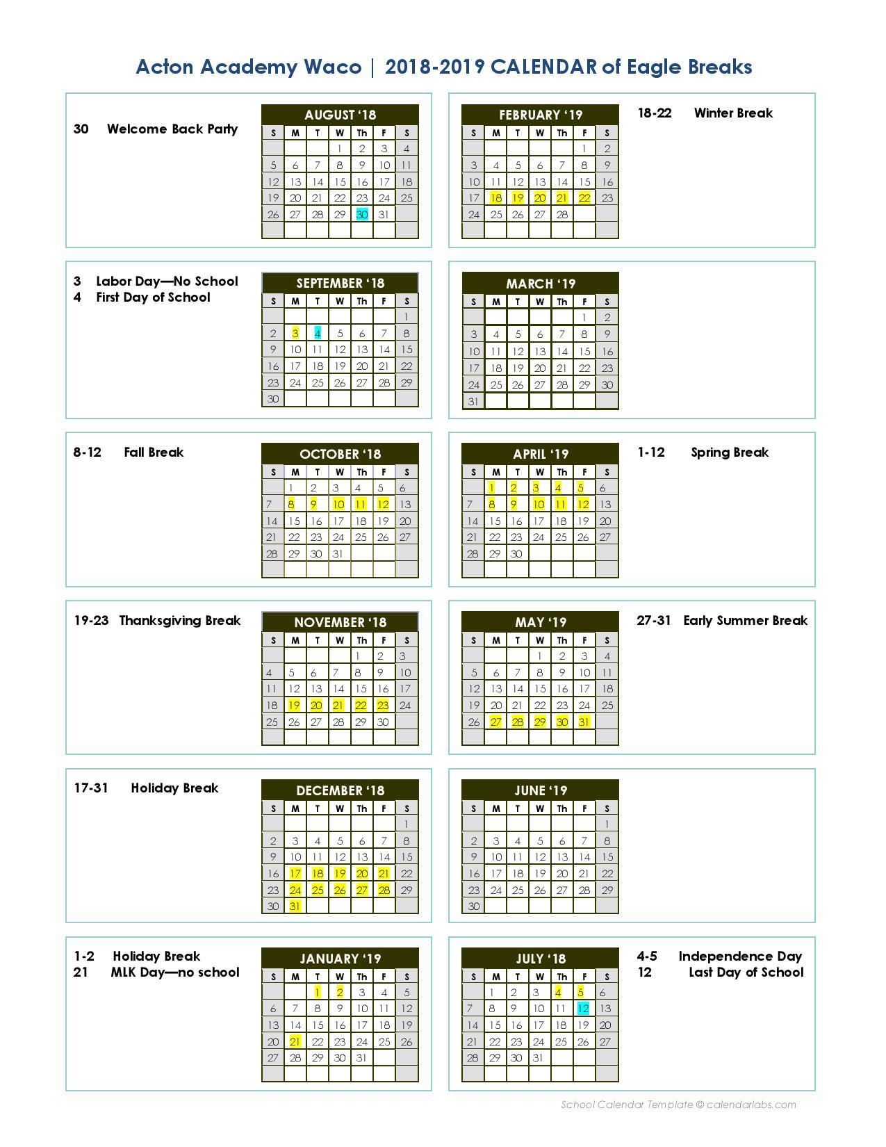 Calendar - Acton Academy Waco