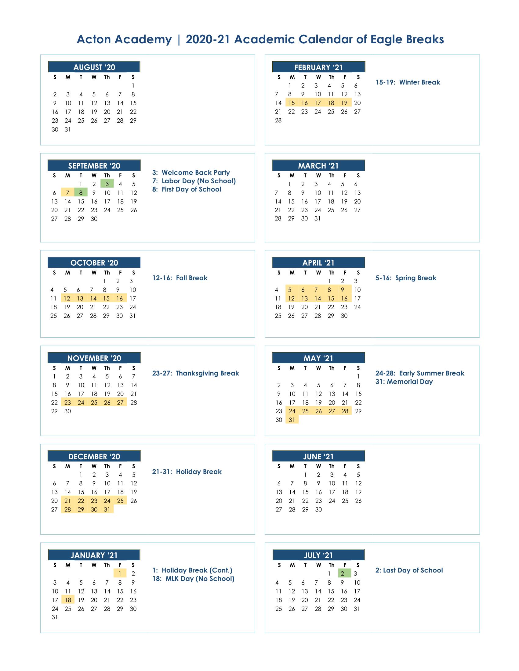 Acton Academy Waco - School Calendar 2020-2021