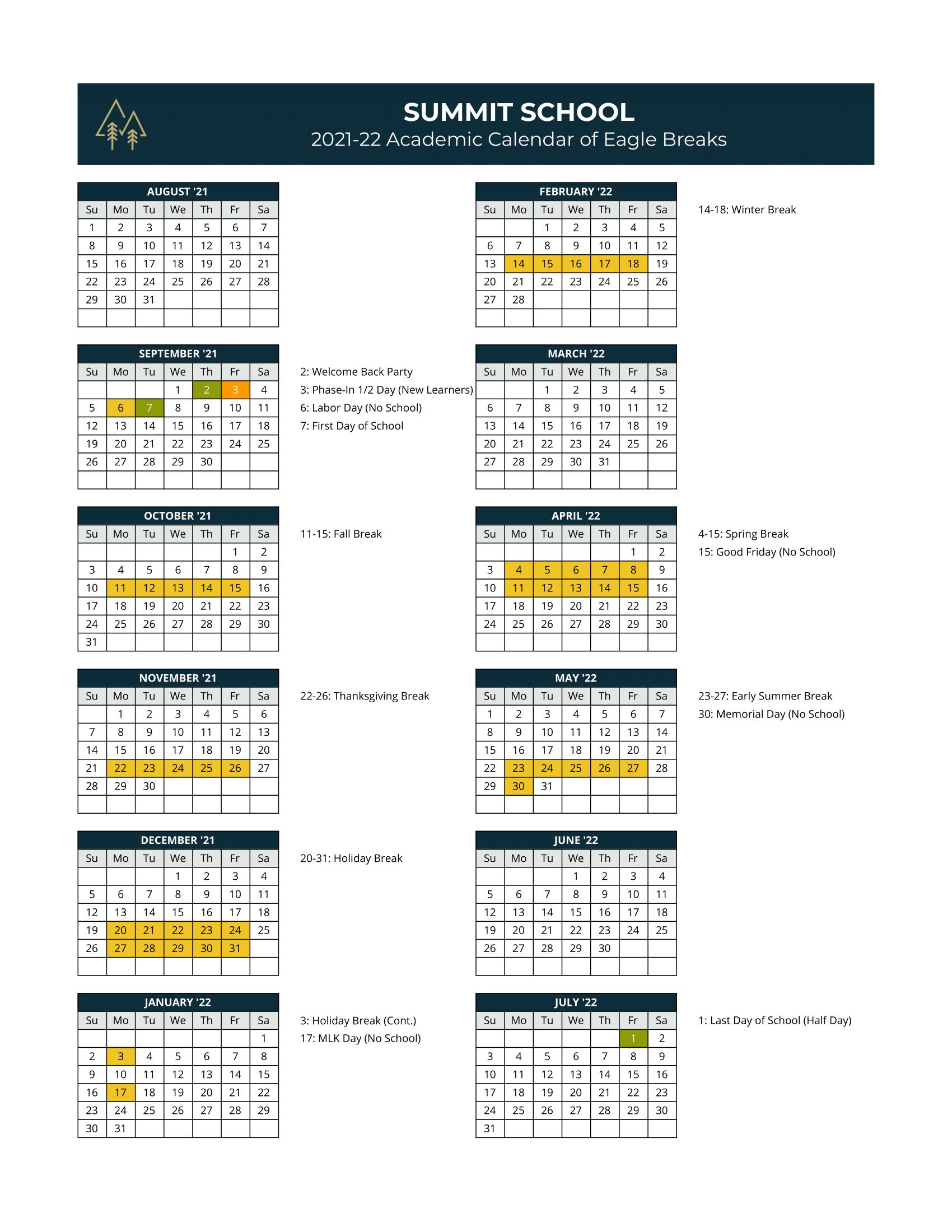 Summit School - Calendar 2021-22